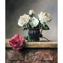 Картина по номера - Белите рози за дамата с голямо сърце