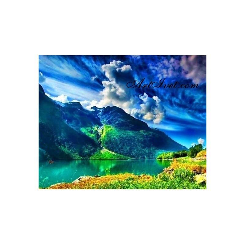 Картина по номера - Белите облаци над екзотичния залив