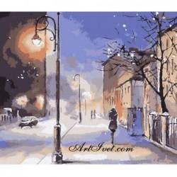 Картина по номера - Зимна нощ в града