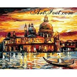 Картина по номера - Златен залез във Венеция