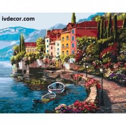 Картина по номера - Цветните къщи на брега на езерото