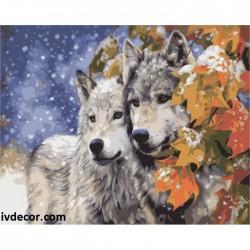 Картина по номера - Вълци в снега