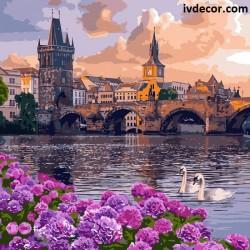 Рисуване по номера - По залез слънце  над каменния мост