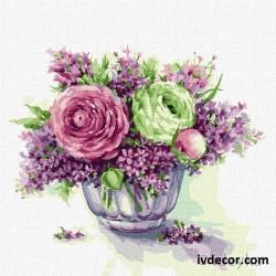 Рисуване по номера - С аромат на люляк  и рози