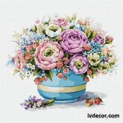 Рисуване по номера - Синя ваза с нежни цветя