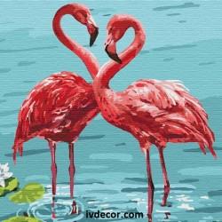 Рисуване по номера - Любовен танц на розови фламингота