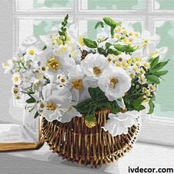 Рисуване по номера - Кошница с бели цветя