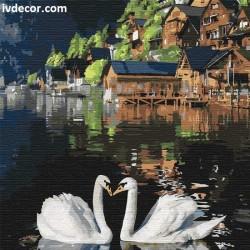 Рисуване по номера - Влюбени лебеди