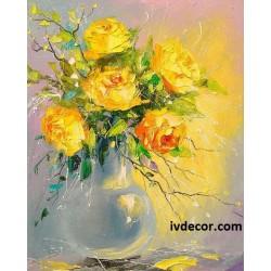 Рисуване по Номера - Обаянието на жълтите рози