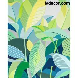 Рисуване по номера - Тропически, стилизирани листа