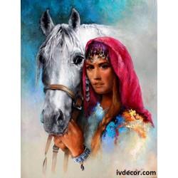 Рисуване по номера - Алгара и нейният приятел белият кон