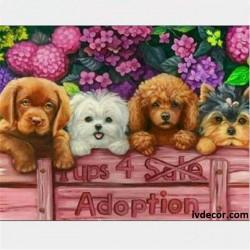 Рисуване по номера - Четири сладурски кученца