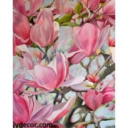 Рисуване по номера - Розови магнолии, любов и нежност